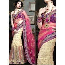 Pink, Purple & Ivory Indian Bridal Lengha: Ref 529