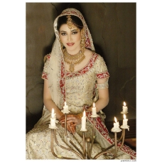 Gold & Maroon Indian Bridal Lengha: Ref 516