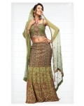 Green Indian Bridal Lengha: Ref 527