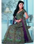 Green &amp; Purple Indian Bridal Lengha: Ref 530