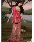 Floral Pink Indian Bridal Lengha: Ref 515
