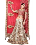 Red &amp; Ivory Indian Bridal Lengha: Ref 553