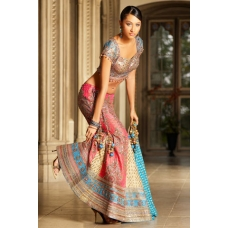 Pink, Ivory Gold, Blue Indian Bridal Lengha: Ref 509