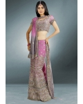 Purple &amp; Silver Indian Bridal Lengha: Ref 517