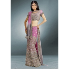 Purple & Silver Indian Bridal Lengha: Ref 517