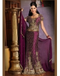 Purple &amp; Gold Indian Bridal Lengha: Ref 534