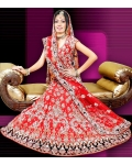 Red, Silver &amp; Black Indian Bridal Lengha: Ref 535