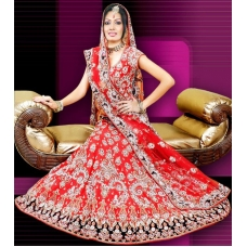 Red, Silver & Black Indian Bridal Lengha: Ref 535