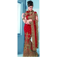 Red & Green Indian Bridal Lengha: Ref 536