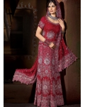 Maroon &amp; Silver Indian Bridal Lengha: Ref 537
