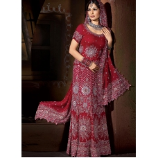 Maroon & Silver Indian Bridal Lengha: Ref 537
