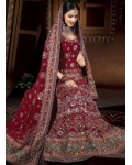 Maroon &amp; Green Indian Bridal Lengha: Ref 511