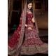 Maroon & Green Indian Bridal Lengha: Ref 511