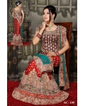 Red, Gold &amp; Maroon Indian Bridal Lengha: Ref 514