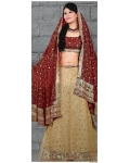 Maroon &amp; Ivory Indian Bridal Lengha: Ref 555