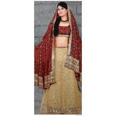 Maroon & Ivory Indian Bridal Lengha: Ref 555