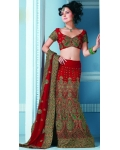 Red & Green Indian Bridal Lengha: Ref 542