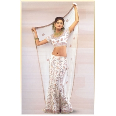 White Indian Bridal Lengha: Ref 544