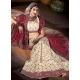 White and Maroon Indian Bridal Lengha: Ref 501