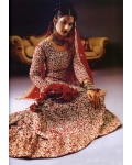 Red and Silver Embroidery Indian Bridal Lengha: Ref 504