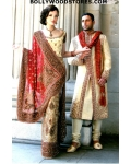 Ivory and Deep Pink Lengha: Ref 558