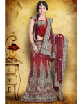 Maroon, Silver &amp; Green Indian Bridal Lengha: Ref 540