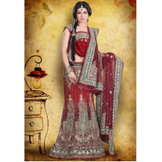 Maroon, Silver & Green Indian Bridal Lengha: Ref 540