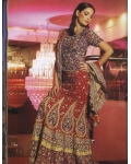 Maroon &amp; Purple Indian Bridal Lengha: Ref 541