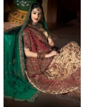 Red & Ivory Indian Bridal Lengha: Ref 510