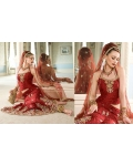 Maroon &amp; Gold Indian Bridal Lengha: Ref 545
