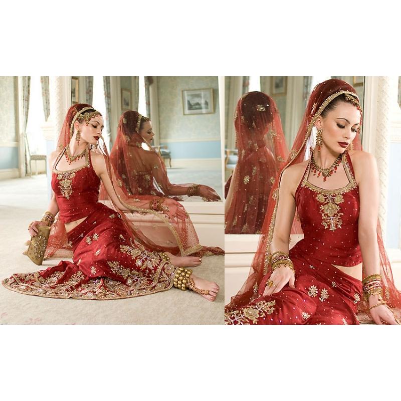 Maroon Gold Indian Bridal Lengha Ref 545