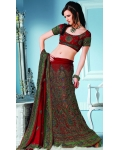 Maroon &amp; Green Indian Bridal Lengha: Ref 546