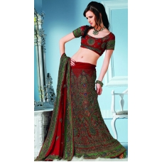 Maroon & Green Indian Bridal Lengha: Ref 546
