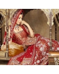Red &amp; White Indian Bridal Lengha: Ref 547