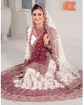 Purple &amp; White Indian Bridal Lengha: Ref 543