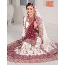 Purple & White Indian Bridal Lengha: Ref 543