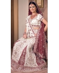 White &amp; maroon Indian Bridal Lengha: Ref 548