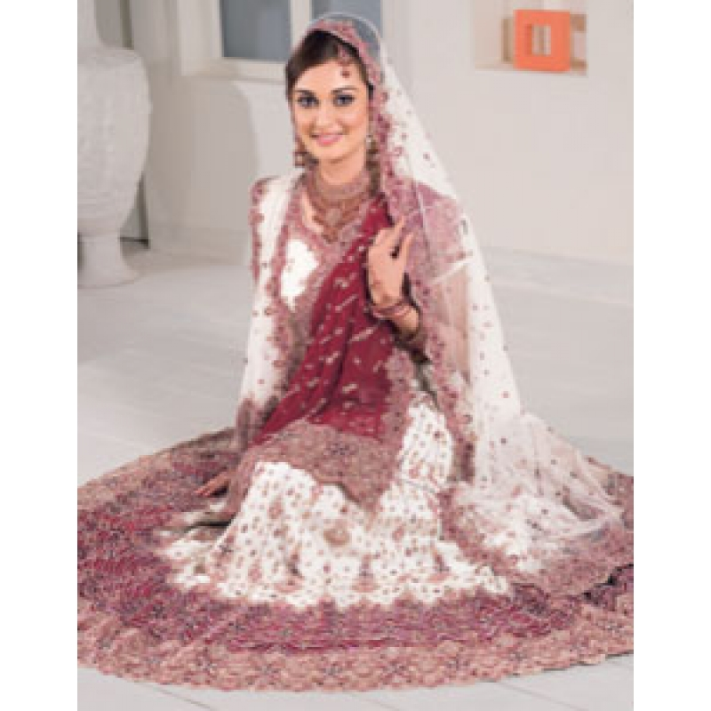 Purple White Indian Bridal Lengha Ref 543 - White Indian Wedding Dress