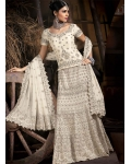 Cream &amp; Silver Indian Bridal Lengha: Ref 551