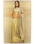Gold &amp; Blue Indian Bridal Lengha: Ref 550