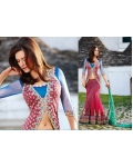 Magenta Net Lehenga Choli with Dupatta: Ref 563