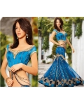 Brandles Blue Net Lehenga Choli with Dupatta: Ref 564