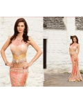 Light Pink Shimmer Georgette Lehenga Choli with Dupatta: Ref 565