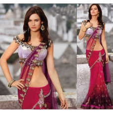 Crimson Net Lehenga Choli with Dupatta: Ref 566