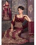 Velvet Purple Alluring Lehenga Choli: Ref 583