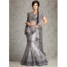 Exotic Embroidered Grey Net Lehenga Choli: Ref 574
