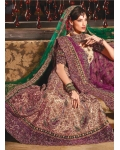 Royal Purple and Beige Lehenga Choli: Ref 582