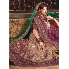 Royal Purple and Beige Lehenga Choli: Ref 582
