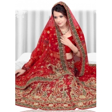 Ravishing Red Bridal Lehenga Choli: Ref 579