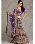 Purple Zardosi And Stone Studded Net Lehenga Choli: Ref 575